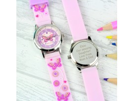 Personalised Kids Pink Time Teacher Butterfly Watch