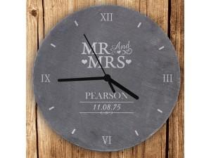 Personalised Mr & Mrs Slate Clock