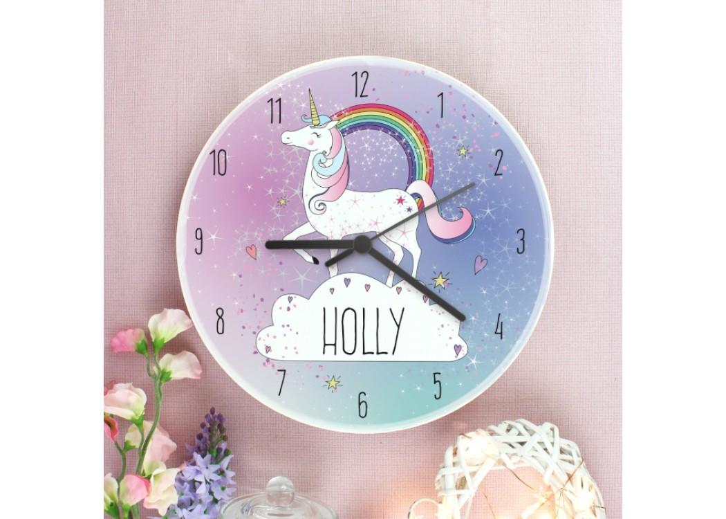 Personalised Unicorn Wooden Clock Yourwatchdesigncouk