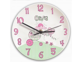 Personalised Whimsical Pram Clock